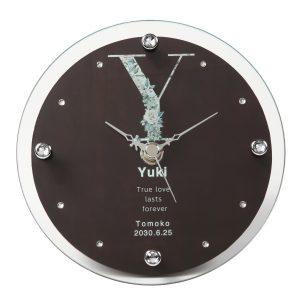 名入れ ガラス 置時計 掛時計 イニシャル