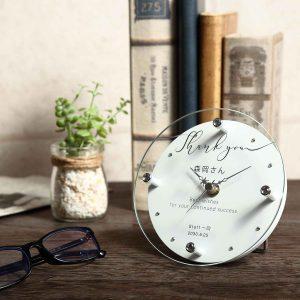 名入れ ガラス 置時計 掛時計 サンキュー