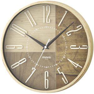 MAG(マグ) アナログ 電波 壁 掛時計 木目調フレーム ココア