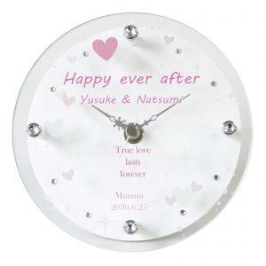 名入れ置き時計ハートホワイト