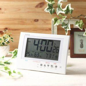 MAG温度湿度計付き電波置掛時計アラート
